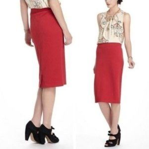 Anthropologie Maeve Geotile Pencil Skirt Red XS